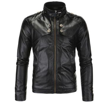 New Motorcycle Jackets Men Vintage Retro PU Leather Jacket Racing Biker Punk Classical Casual Bomber Windproof Moto Jacket