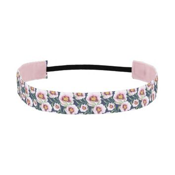 Sweet pink blue poppy vintage floral pattern athletic headband