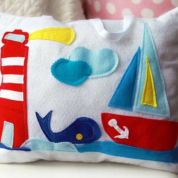 Tooth Fairy Pillow For Boys, Nautical Nursery Decor, Baby Shower Gift, Kids Decor, Coastal Decor, Travel Pillow, Felt,  LIGHTHOUSE WHALE