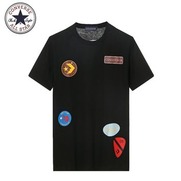 Converse New Commendation Medal Commemorative Couple Short Sleeve T-Shirt Black