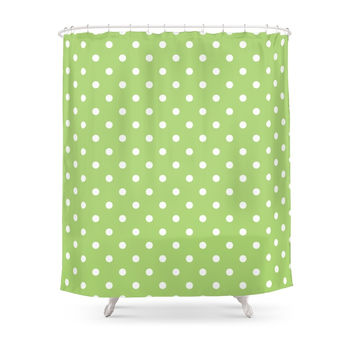 Society6 Elegant Modern Trendy Cool Simple Lime Green Shower Curtain