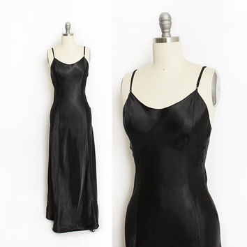 Vintage 1940s Slip - Black Rayon Satin Bias Cut Slip Dress 30s - Small S