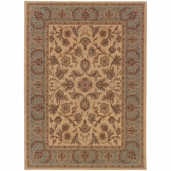 Nadira Beige Blue Oriental Persian Traditional Rug