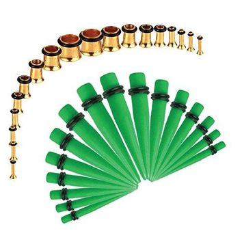 BodyJ4You Gauges Kit Green Tapers Gold Plugs Steel 14G-00G Stretching Set 36 Pieces