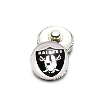 Newest 10pcs/lot Glass Oakland Raiders Football Team Snap Buttons Charms Fit 18mm DIY Ginger Snap Bracelet Necklace Jewelry