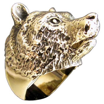 Grizzley Bear Ring Spirit Animal Totem in Bronze