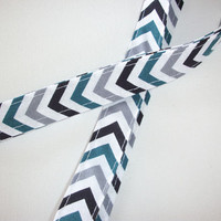 Lanyard  ID Badge Holder - teal, white, grey Chevron - Lobster clasp and key ring Zig Zag - ZigZag