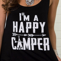 Happy Camper Black Graphic Tank