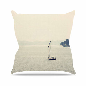 "Sylvia Coomes ""Hazy Sea"" Blue Travel Outdoor Throw Pillow"