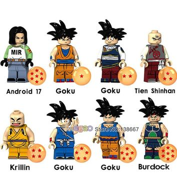 Legoing Dragon Ball Z Building Blocks Son Goku Tien Shinhan Krillin Android 17 Anime Action Figure Brick Dolls Toys for Children