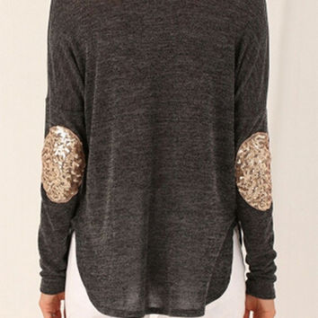 Gray Sequined Elbow Patch Asymmetric T-shirt