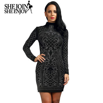 ShejoinSheenjoy 2017 Sexy Women Retro Geometric Rhinestone Dress High Neck Long Sleeve Mini Bodycon Dress Club Party Dresses
