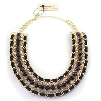 Sumni Textured Weave Wide Collar Necklace