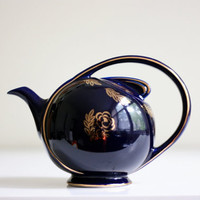 Hall Airflow Teapot  Vintage Navy and Gold Teapot by WiseApple