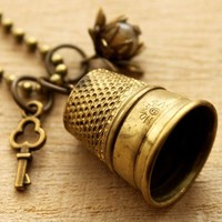 Old Brass Thimble Necklace - Nostalgems