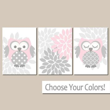 Pink Gray OWL Wall Art, Owl Baby Girl Nursery Decor, Girl Bedroom Pictures, Flower Owl Theme Decor, CANVAS or Print, Set of 3 Artwork