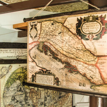Pull down chart of the Adriatic sea from 1590, Canvas antique wooden pirate frame, Nautical decor, Dalmatia, Dubrovnik, Pirate ships