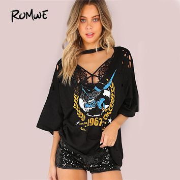 Over Sized T-Shirt Black Tee Women Graphic Casual Punk Tops Casual Loose Sexy Cut Out Cotton T-Shirt