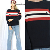 Vintage Polo Ralph Lauren sweater M red white blue ralph lauren pullover sweater thick cotton knit warm winter ski sweater SunnyBohoVintage