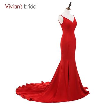 Mermaid Red Long Evening Dress Elegant Party Long Prom Gown