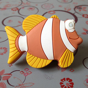 Fish Knobs / Kids Dresser Knobs / Nautical Cabinet Knobs / Childrens Drawer Knobs / Decorative Boys Girls Hardware Beach Yellow Orange White