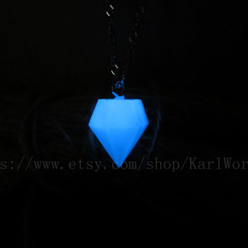 Glow Necklace - Diamond shape Necklace - Blue Necklace - Silver Necklace -Glow in the dark Necklace, Heart of Atlantis,Personalized necklace