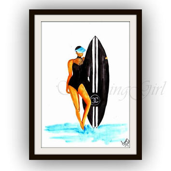 Chanel surf board, Fashion, beach Wall Art, decor, watercolor painting, decal decals, print, girl room, coco, surfing, surfboard, swim suit