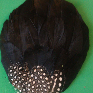 Wedding couture, bridal couture, guinea feather,  bridal fascinator, pin up, black and white, modern wedding