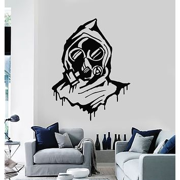 Vinyl Wall Decal Gas Mask Military Respirator Hood Teen Room Stickers Mural (g1164)