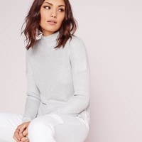 Missguided - Funnel Neck Knitted Jumper Grey Marl