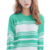Stripe Color Block Ribbed Pullover Sweater