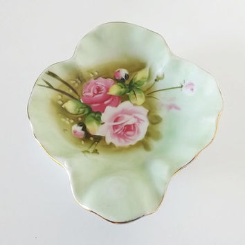 Lefton China Dish Green Heritage Rose Pattern