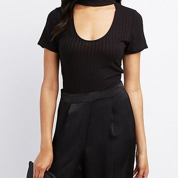 Ribbed Choker Neck Top