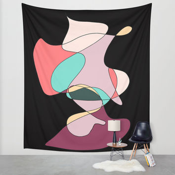 Abstract 1 (Black) Wall Tapestry by DuckyB (Brandi)