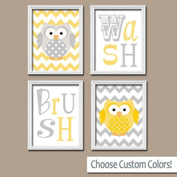 Owl Bathroom Yellow Gray Canvas or Prints Wall Art Wash Brush Bathroom Rules Girl Boy Bathroom Art Bathroom Set of 4 Bathroom Decor