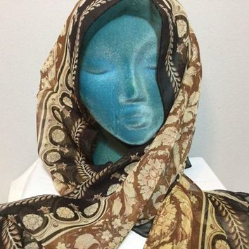 CREYRQ5 NWT Versace Women's Printed Scarf, Multi Colors of Brown