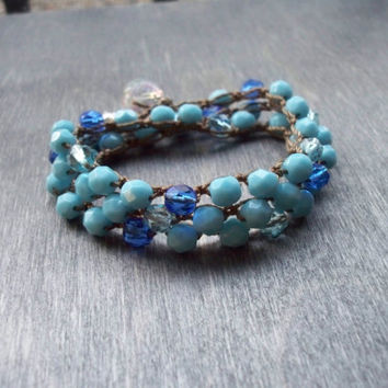 Ocean blue crochet multi wrap bracelet, layering necklace, czech glass bead jewelry, hippie beach jewellery,