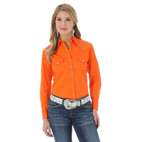 Wrangler Women's The Ultimate Riding Shirt Long Performance Sleeve Solid Shirt Orange