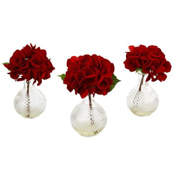 Silk Flowers -Red Hydrangea With Glass Vase -Set Of 3 Arrangement Artificial