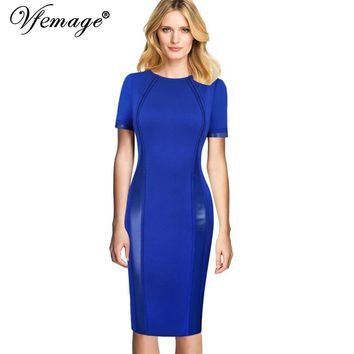 Vfemage Womens Elegant Faux Leather Inset Patchwork Wear To Work Business Office Party Stretchy Bodycon Pencil Sheath Dress 061