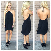 Black Fring Halter Jessica Dress