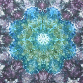 mandala tie dye tapestry or wall hanging in blue greens and grey