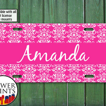 Pink Damask Pattern Fancy Cursive Name Accessory Cute Personalized For Front License Plate Car Tag One Size Fits All Vehicle Custom
