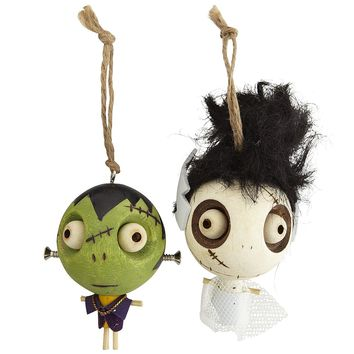 Wood Frankenstein & Bride Ornaments