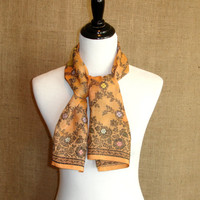 Indian Sari Scarf, Golden Yellow Women's Scarf, Silk Floral Scarf, Upcycled Saree Scarf, Fashion Scarf, From India