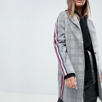 ASOS Slim Coat in Mono Check with Sports Trim at asos.com