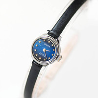 Very small blue women's wristwatch, ornamented face micro watch for women Seagull, petite lady watch gift unique, genuine leather strap new