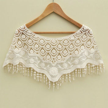 Mesh Hollow Crochet Lace Knit Shawl Cape Shawl Tank Top Vest