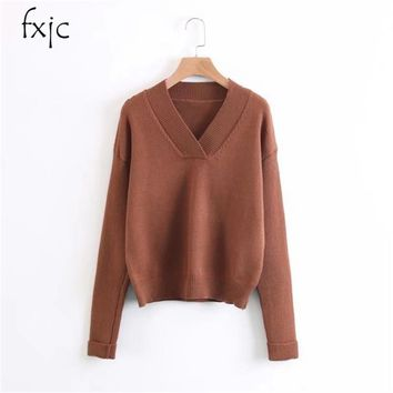Autumn and winter new female jacket V neck pure color fashion backing long sleeves sweater free shipping