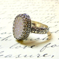 Gothic Sterling Silver Ring with Large Oval White Opal Titanium Drusy Quartz Druzy